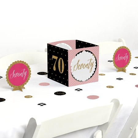 Chic 70th Birthday - Birthday Party Centerpiece & Table Decoration Kit (Pink And Black Table Centerpieces)