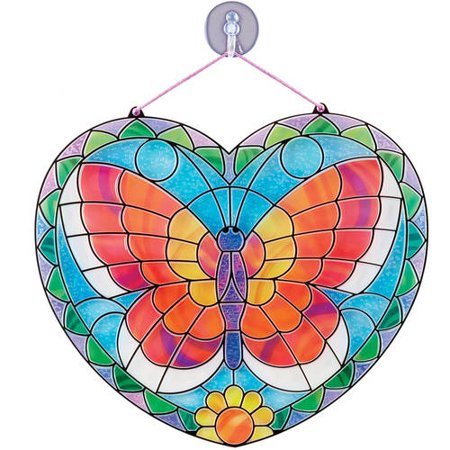 Melissa & Doug Stained Glass Made Easy Activity Kit: Butterfly - 140+ Stickers (Stained Glass Butterfly Suncatcher)