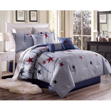 B-Y327 2-Piece Rock Stars Pattern Twin Cotton Duvet Cover Bed Set For Comforter with Hidden Zipper Closure On Side ()