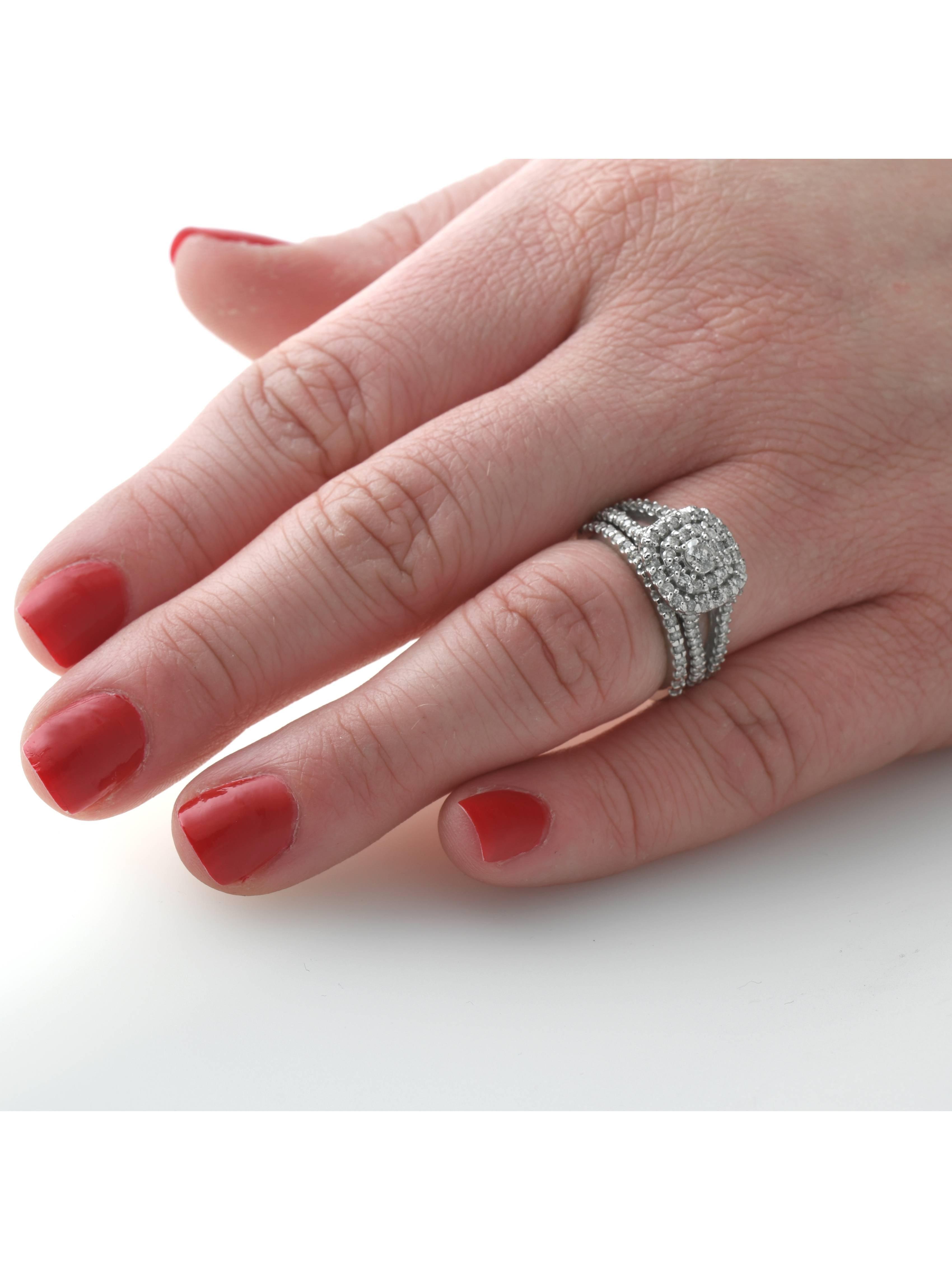 1 1 10ct Cushion Halo Solitaire Diamond Engagement Wedding Ring Set