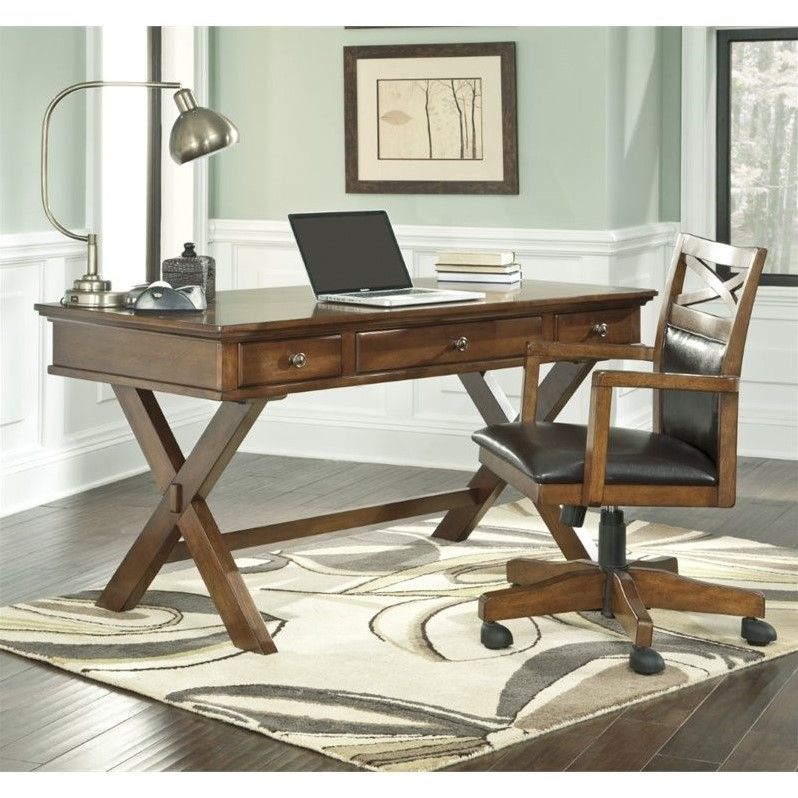 Merveilleux Ashley Burkesville Home Office Desk With Chair In Medium Brown