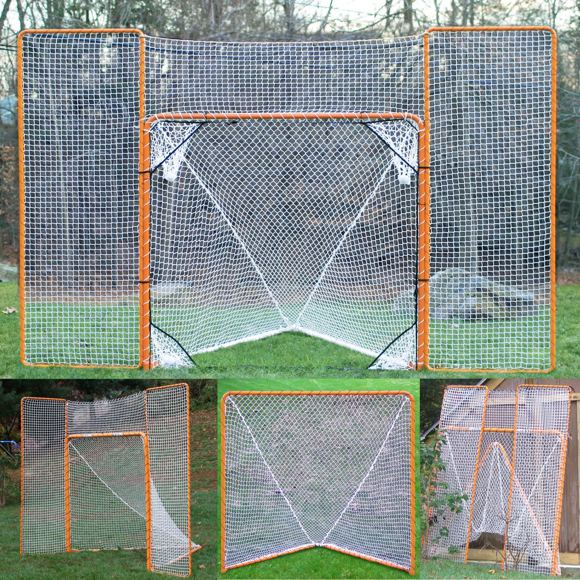 EZgoal Monster 6' x 6' Official Regulation Folding Metal Lacrosse Goal Net with 11' x 8' Backstop Rebounder and 4 Net Pocket Targets