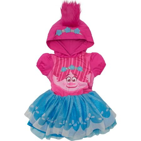 Trolls Poppy Toddler Girls' Costume Dress with Hood and Fur Hair, Pink and Blue, (Girls Sharpay's Pink Dress Costumes)