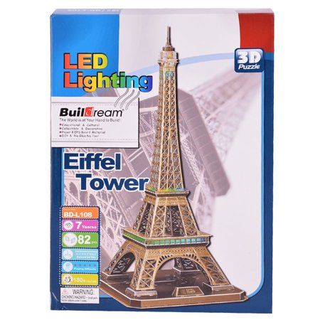 82-Piece Eiffel Tower 3D Puzzle Building Toy with LED Lighting Brain Teaser](Eiffel Tower Puzzle)