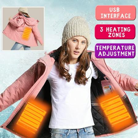 Woman Coat Intelligent Adjustable Temperature Heating Keep Warm Woman Pink Electronic Jacket USB Hooded Waterproof Hooded