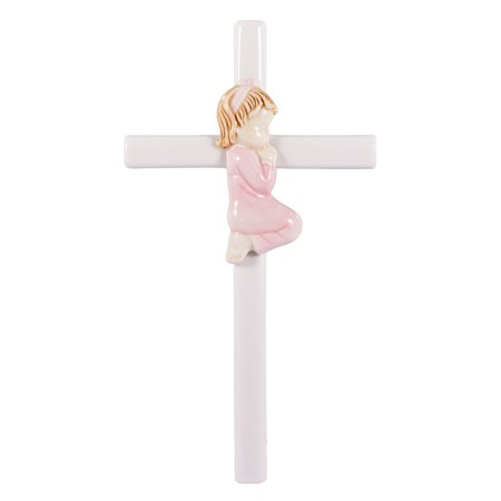 Praying Girl Hand Painted White Porcelain 7.5 inch Wall Cross, Hand painted and gift boxed By Roman Inc.