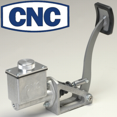 Cnc Silver Floor Mount Single Brake Pedal Assembly With Tall Reservoir 7/8 Bore Master Cylinder