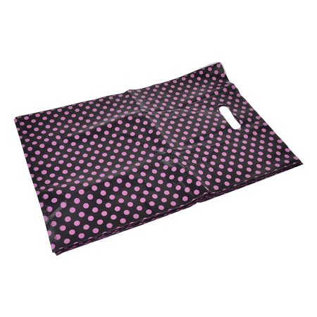 Unique Bargains Shop Dots Handbag Tote Carrier Holder Gift Shopping Bag Black 46 x 30.5cm 15pcs