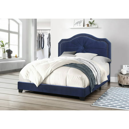 Best Quality Furniture Upholstered Panel Bed in Velvet Fabric, 3 Colors (Black, Gray or Navy) & 3 Sizes (Q, F or