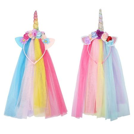 HDE Rainbow Unicorn Headband with Veil Two Pack Silver and Rainbow Horn Headband with Flowing Tulle Veil (2-Pack)](Rainbow Unicorn Headband)