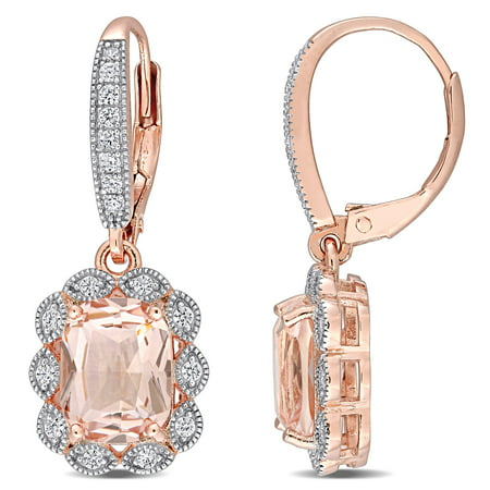 Miabella Simulated Morganite and Cubic Zirconia Rose-Plated Sterling Silver Earrings - image 1 of 4