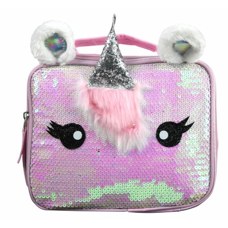 Girls' Deluxe Unicorn Silver Flat Sequin Rectangle Lunch Bag Reusable Tote w/ Foil Horn and Ears