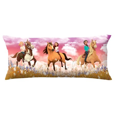 Spirit Riding Free Body Pillow Cover with Zipper, Kids Bedding, 20 x 54, Spirit Field Body Room Linen Pillow