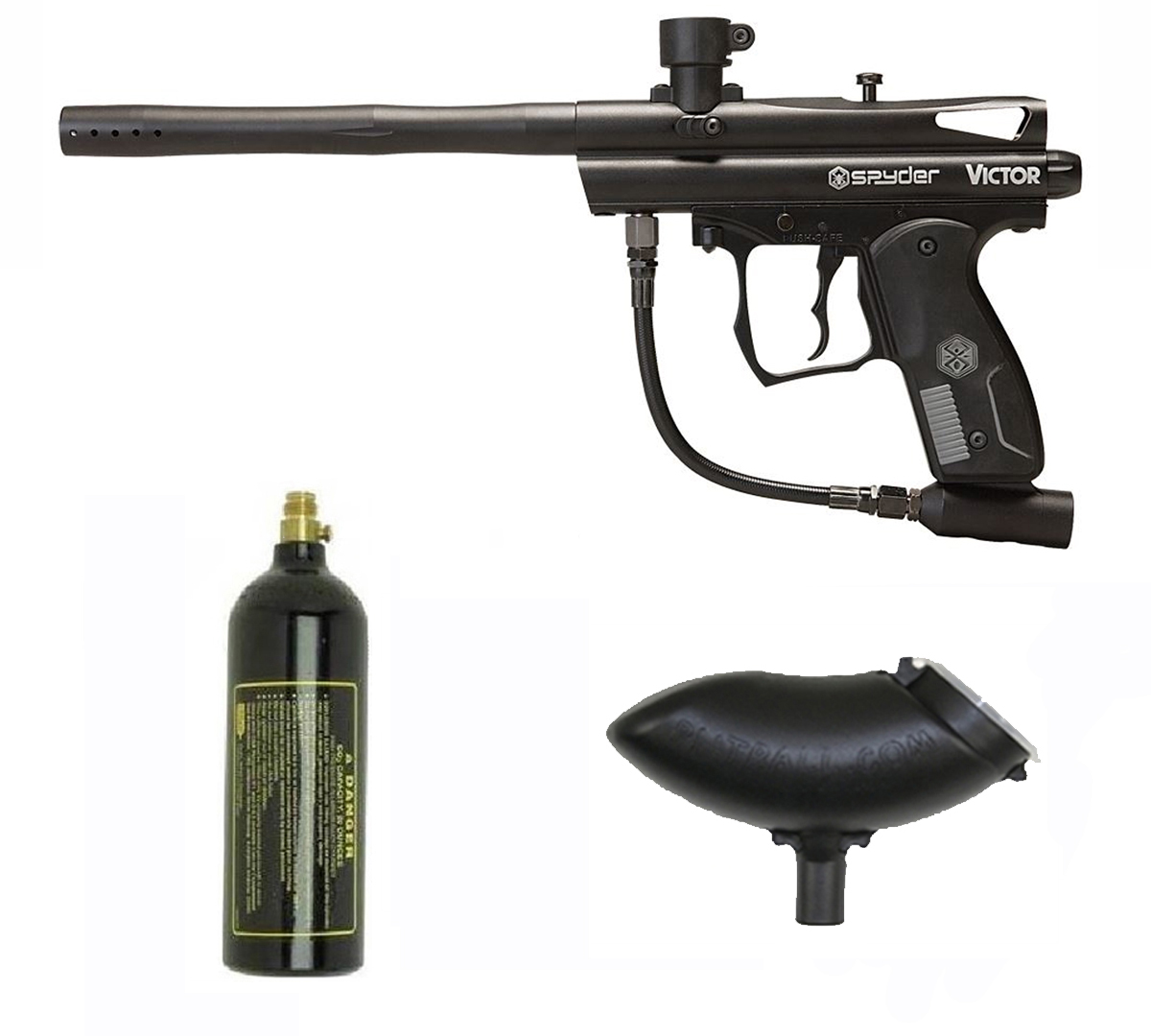 Spyder Victor Paintball Gun 3Skull Marker Package Black by