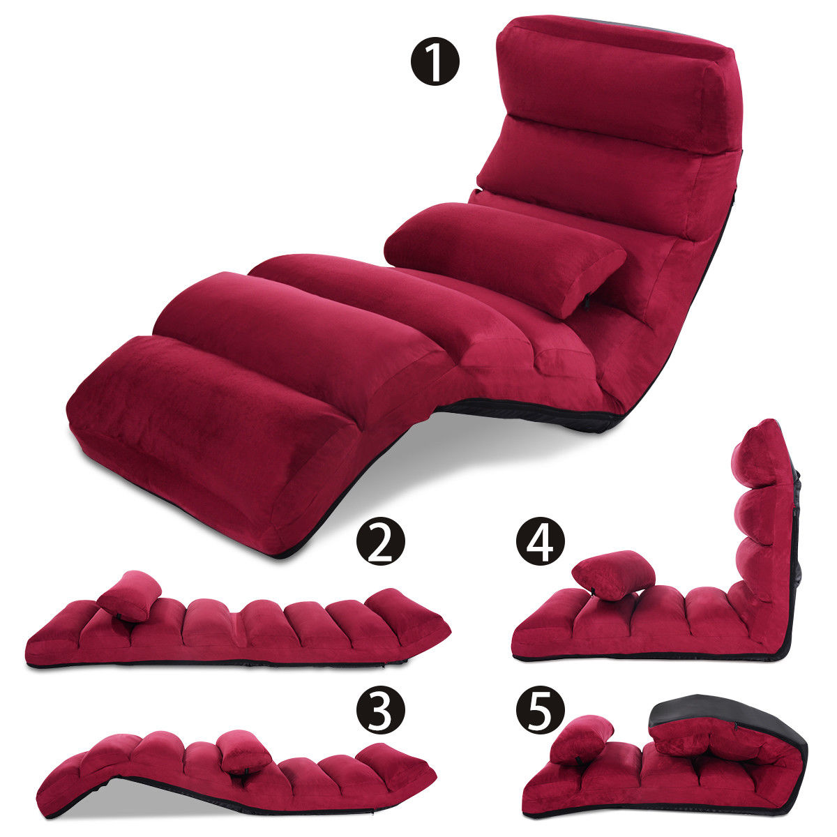 Costway Burgundy Folding Lazy Sofa Chair Stylish Sofa Couch Beds Lounge Chair W/Pillow