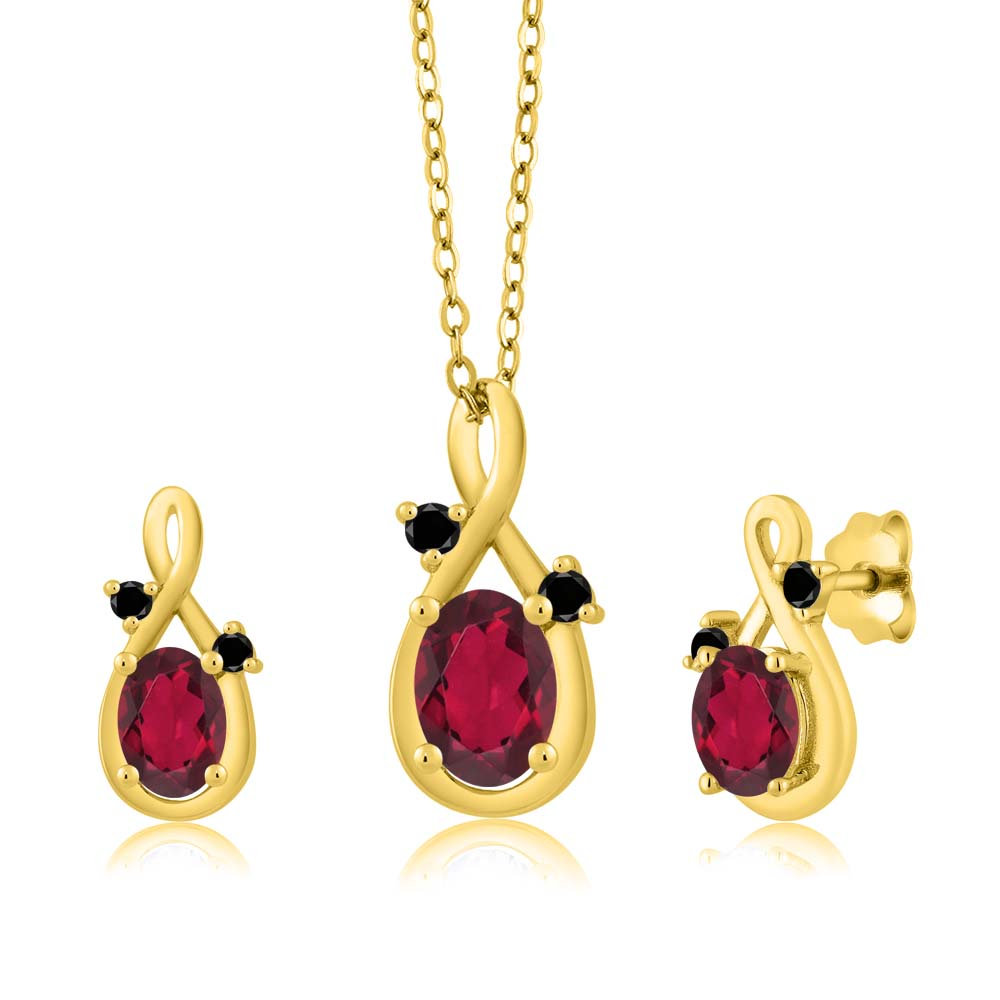 1.90 Ct Oval Red Mystic Topaz 14K Yellow Gold Pendant Earrings Set by