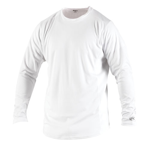 Rawlings YLSBASE RAWLINGS BOYS' PERFORMANCE CREW NECK LONG-SLEEVE BASEBALL SHIRT WHITE EXTRA LARGE