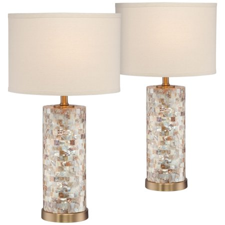 360 Lighting Coastal Accent Table Lamps Set of 2 Mother of Pearl Tiles Cylinder Cream Linen Drum Shade for Living Room Bedroom