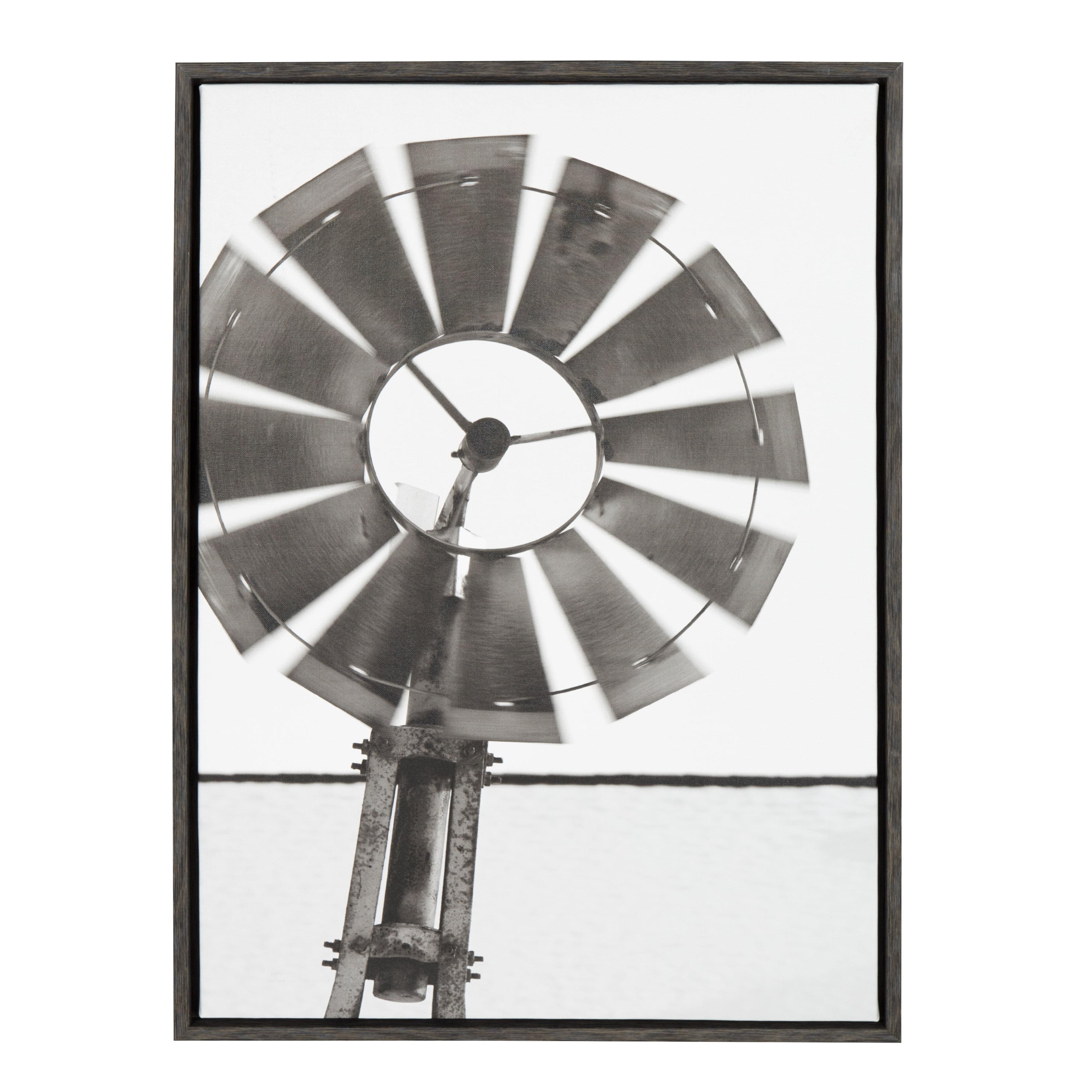 Kate and Laurel Sylvie Rustic Windmill 23x33 Dark Gray Framed Canvas Wall Art by Jami Skarda