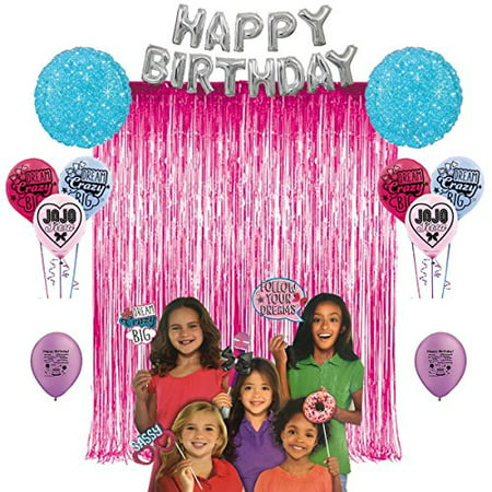 JoJo Siwa Birthday Party Photo Booth Props Balloons Decoration Kit - Neon Props