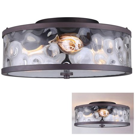 Flush Mount 3 Light Ceiling Fixture Watermark Glass Drum, Oil Rubbed Bronze