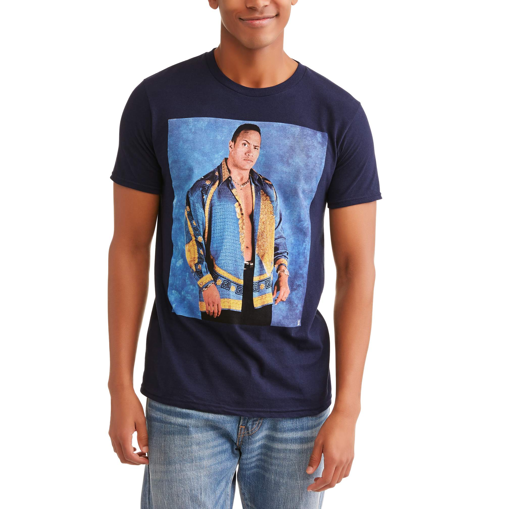 WWE Men's The Rock on Blue Background Short Sleeve Graphic T-Shirt