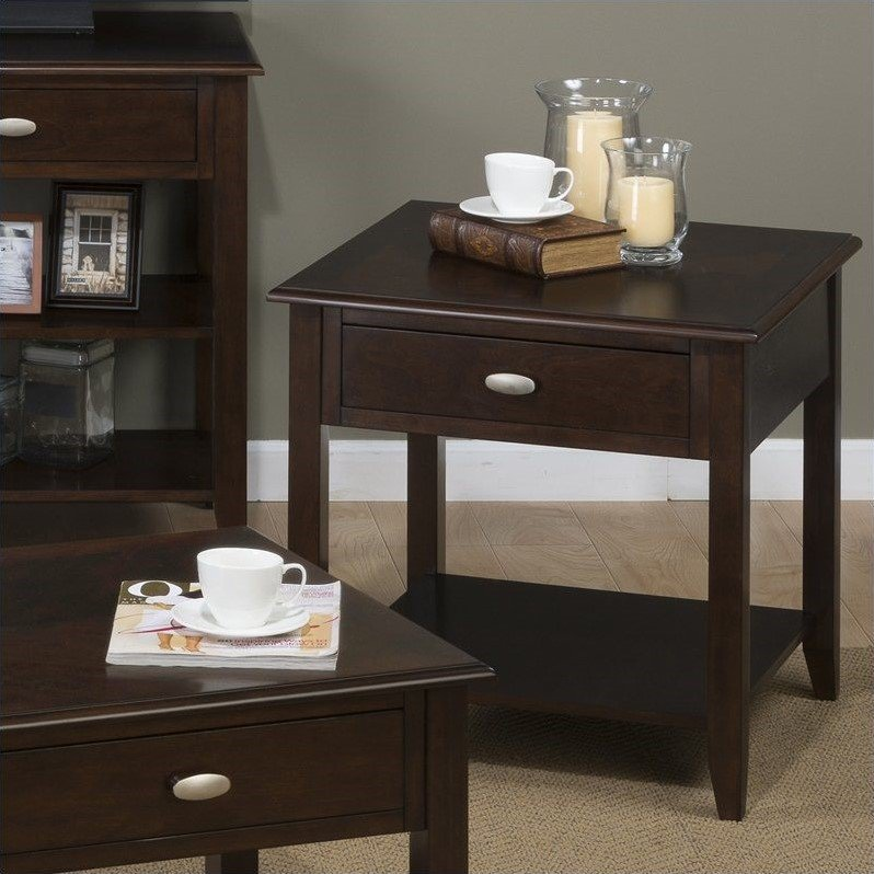 Jofran 1030 Series End Table with Drawer and Shelf in Merlot by Jofran