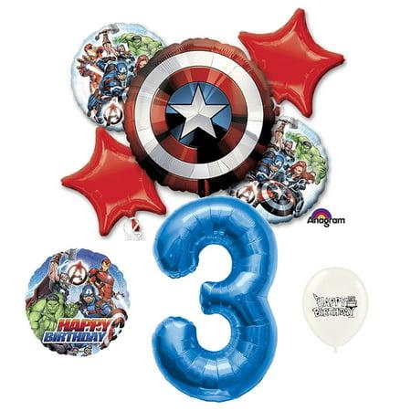 3rd Birthday Marvel Avengers Captain America Shield Balloons Bouquet](Captain America Birthday)