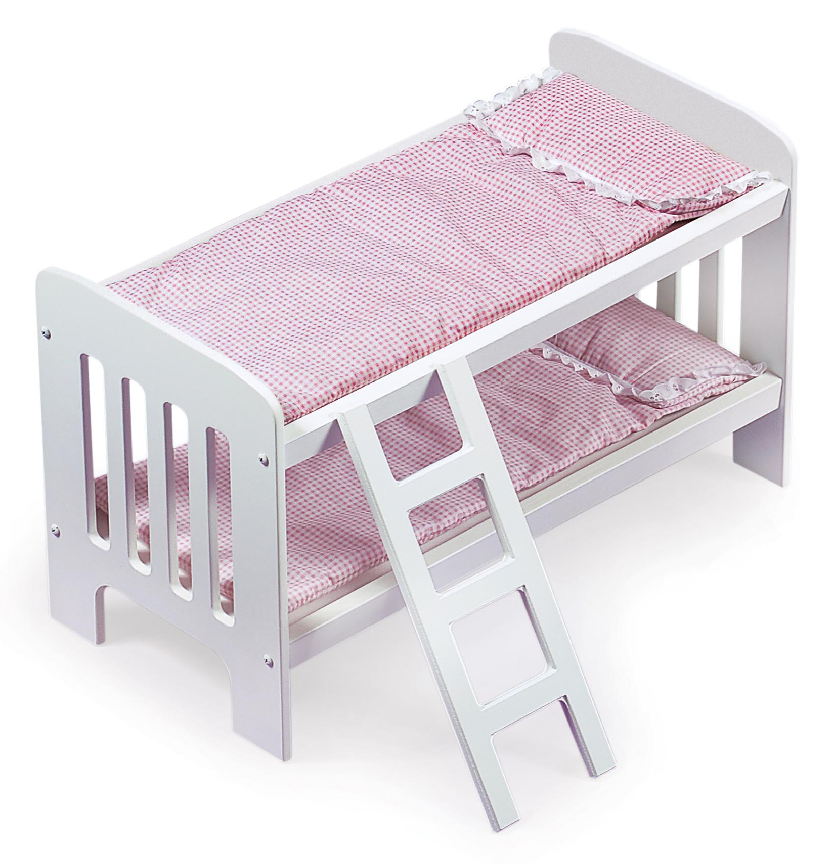 Badger Basket Gingham Doll Bunk Bed With Bedding And Ladder White