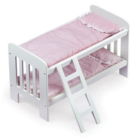 Gingham Doll Bunk Bed with Bedding and Ladder - White/Pink - Fits American Girl, My Life As & Most 18