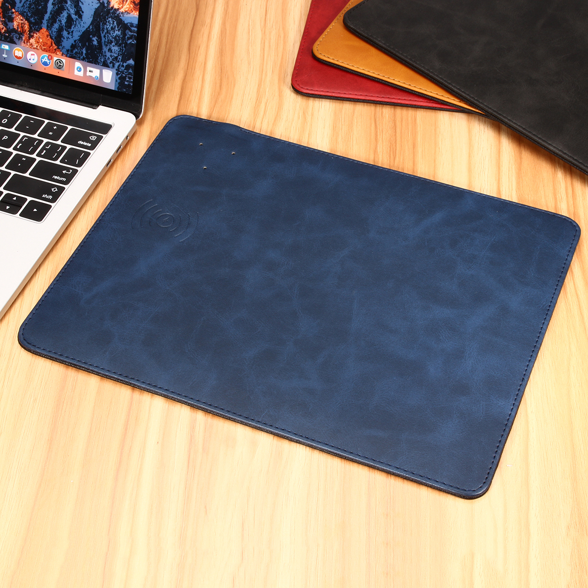 Luxury Qi Wireless Leather Mouse Pad Fast Charging For Sam'sung i'Phone X S8 Plus