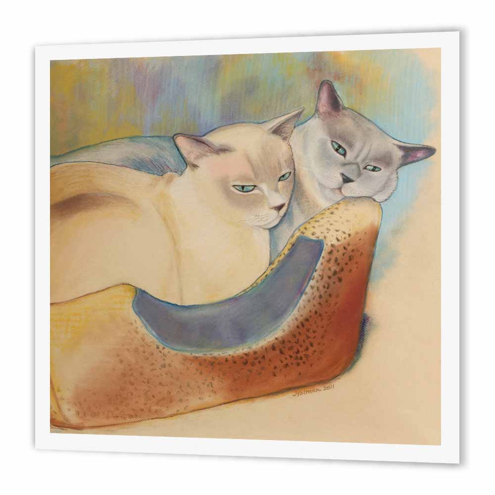Image of 3dRose Cats two cats Tonkinese cats cuddling pastel painting pet portrait cats cat bed, Iron On Heat Transfer, 8 by 8-inch, For White Material