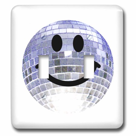 3dRose Disco ball smiley face - silver dance club theme smilie Happy party smilie - clubbing smile smiling, Double Toggle Switch