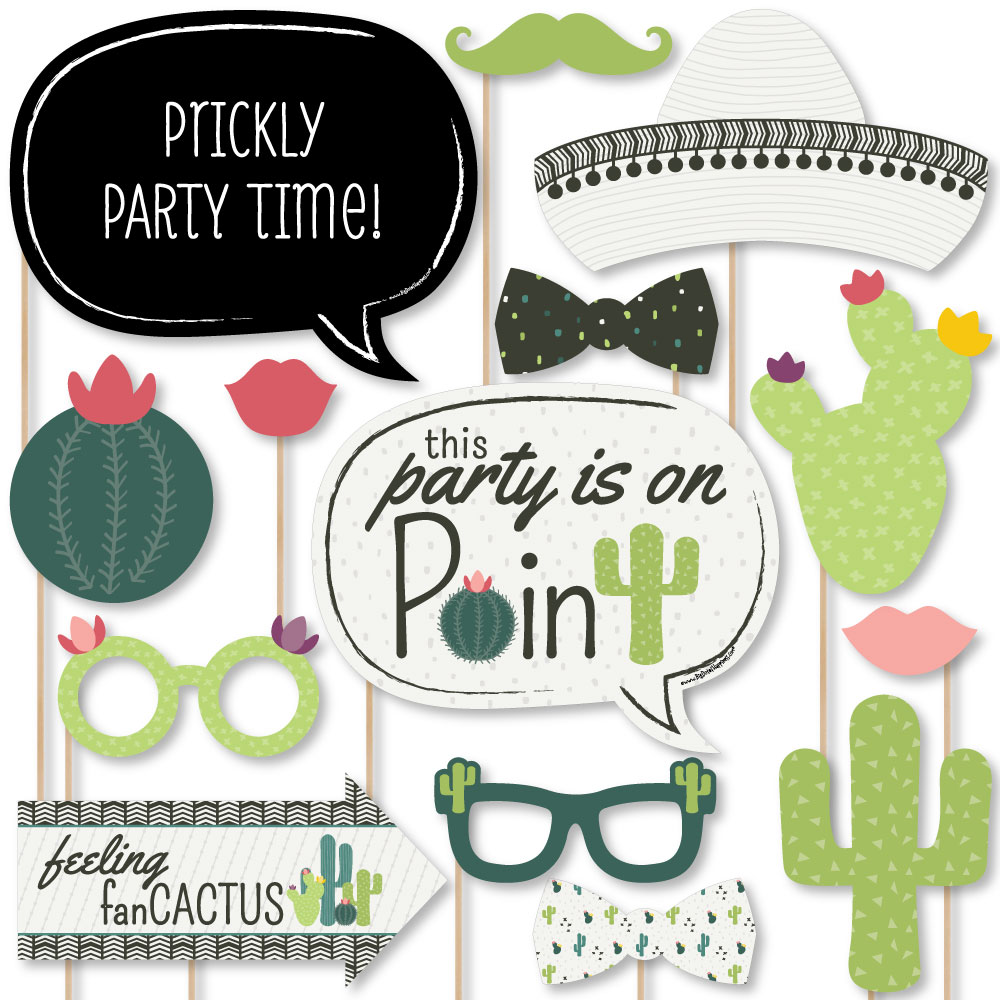 Prickly Cactus Party - Fiesta Party Photo Booth Props Kit - 20 Count