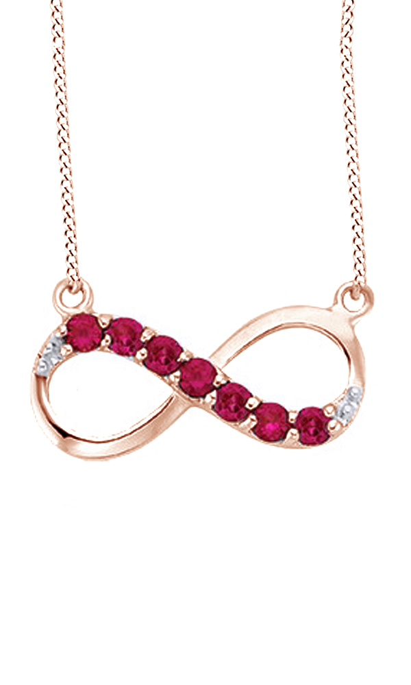 Simulated Ruby Cubic Zirconia & White Cubic Zirconia Infinity Pendant Necklace In 14k White Gold Over Sterling Silver by Jewel Zone US