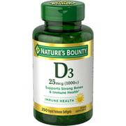 Nature's Bounty Vitamin D3 Softgels, 25 mcg, 1000 IU, 250 Ct