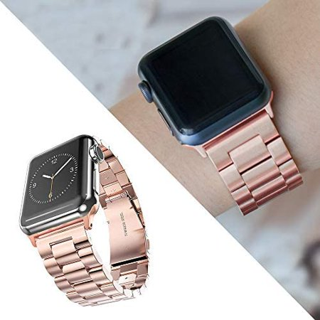 Fwheel Compatible with Apple Watch Band 38mm,Stainless Steel Replacement Watch Band with Double Button Folding Clasp - image 3 of 5