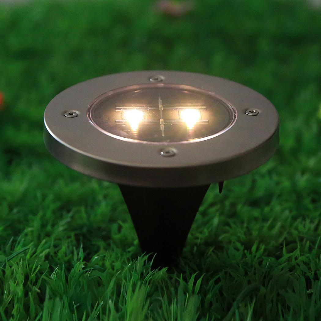 Outdoor Solar Lights In Ground: Elecmall 4pcs Solar Powered 2 LED Pathway/Ground Light For