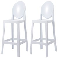 "2xhome Set of 2 30"" Seat Height Clear Transparent Contemporary Modern Glam Barstool Modern Side Chairs Molded Plastic Bar Stool Counter Accent Lounge No Arms Kitchen With Back"