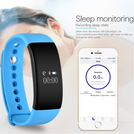 Jeobest Fitness Tracker Watch with Heart Monitor - V66 Waterproof Bluetooth Smart Watch Smart Band with Step Tracker Heart Rate Monitor Smart Sports Wristbands for iPhone and Android phones (Blue)