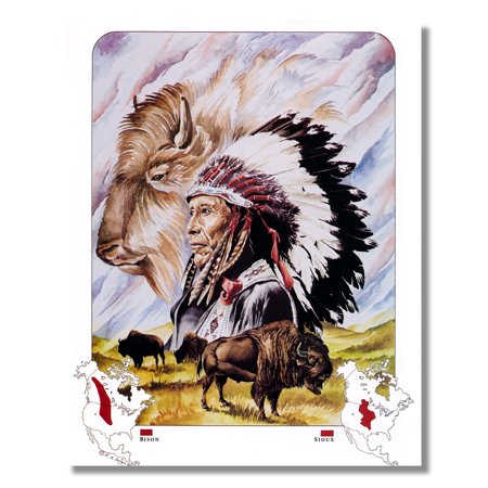 America Wall Map (Native American Indian Map for the Sioux Tribe Wall Picture 8x10 Art)