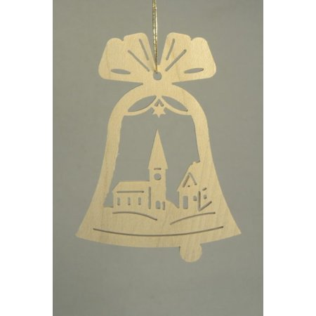 Bell with Church Scene German Wood Christmas Ornament Decoration Made in Germany (Christmas Scenes Decorations)