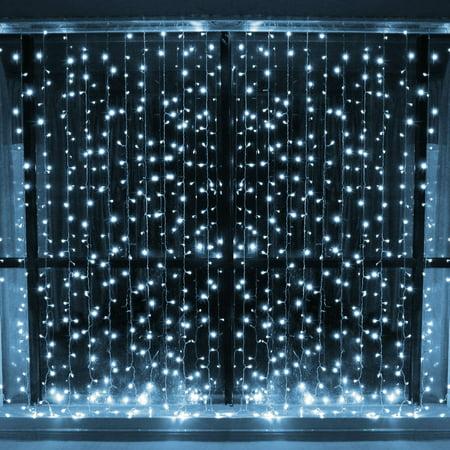 Christmas Light Curtains.Leapair Fairy Lights Strings 600 Led White Lights Curtains For Christmas Wedding 19 69x9 8ft