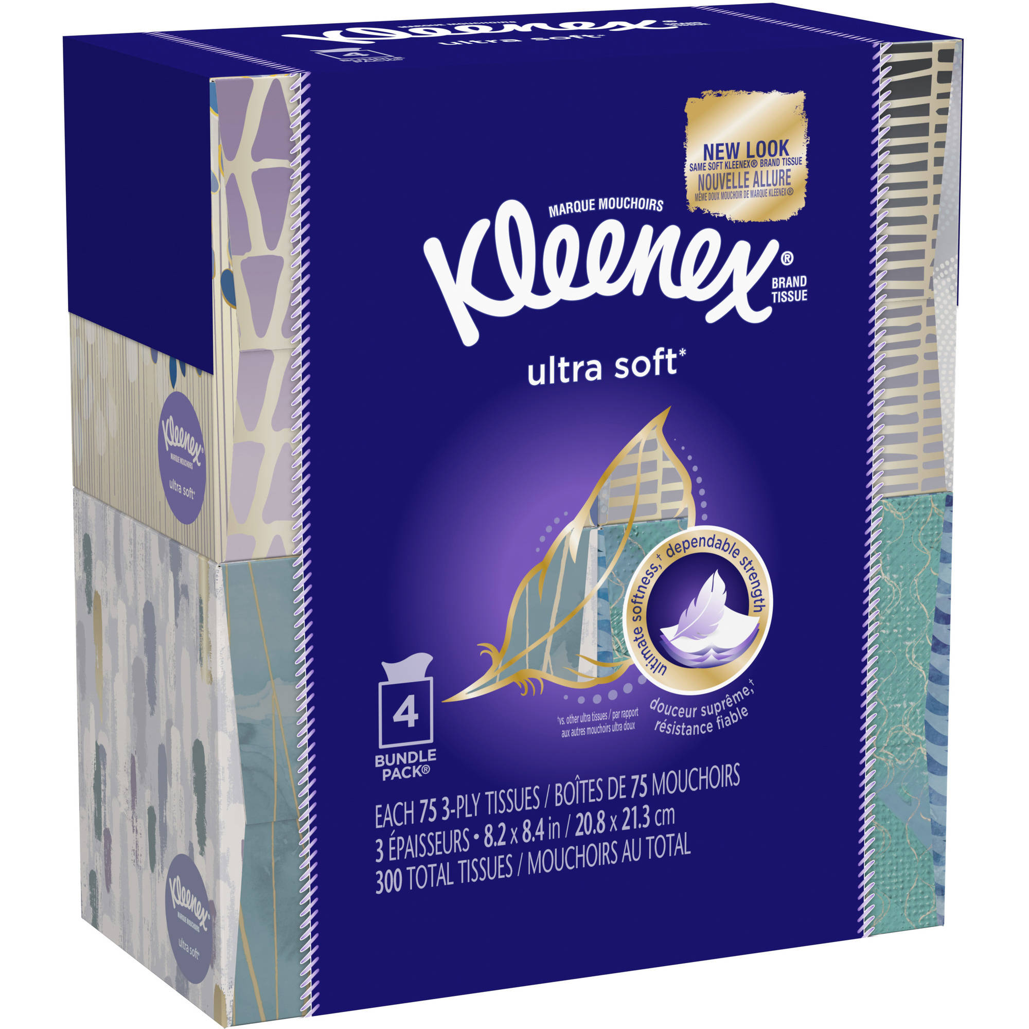Kleenex Facial Tissues, Ultra Soft & Strong, 75 Sheets Pack of 4 (Designs May Vary)
