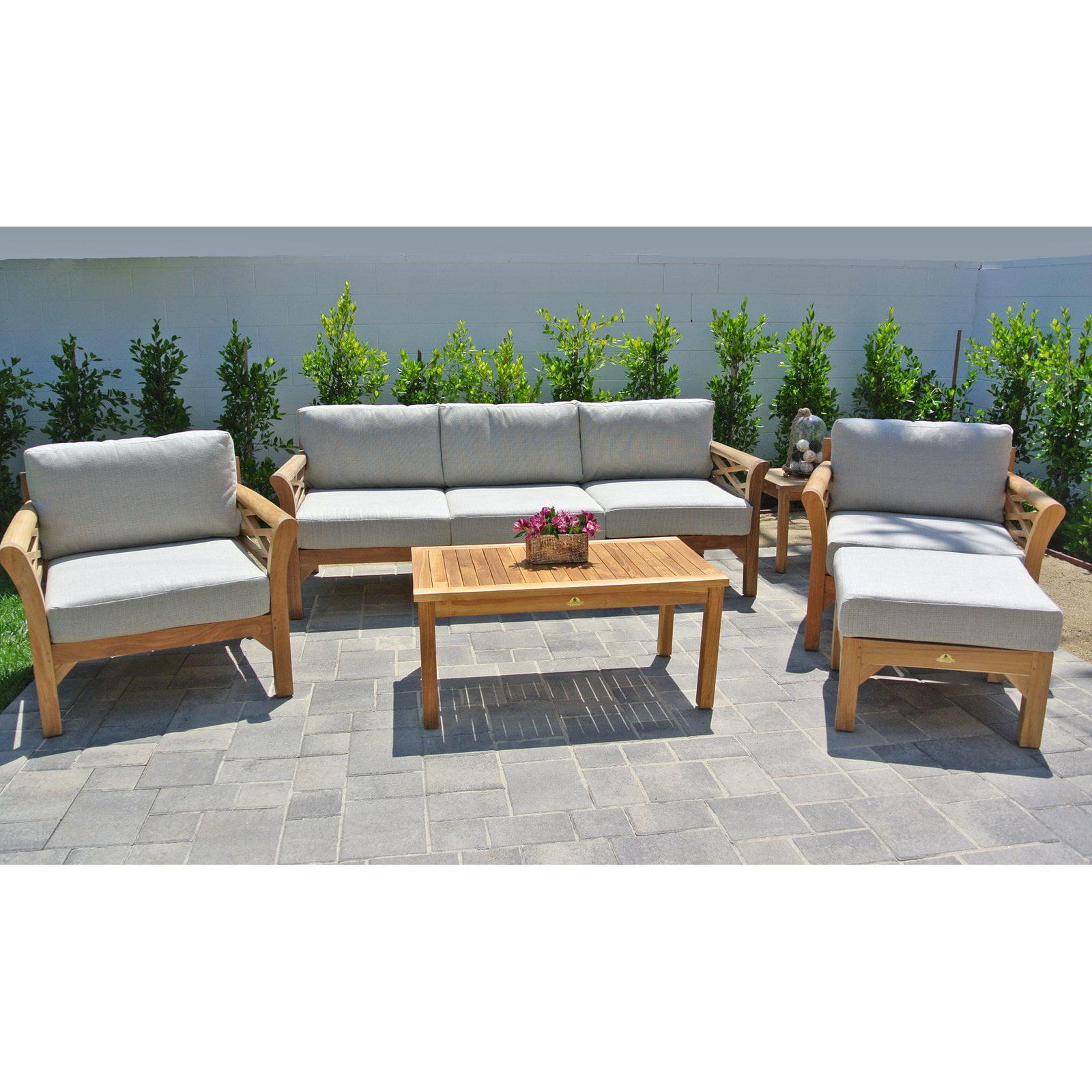 Willow Creek Designs Monterey Teak 6 Piece Deep Seating Patio Set