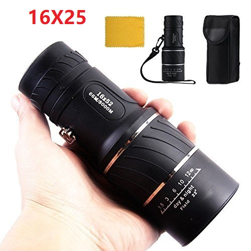 16 x 52 Dual Focus Zoom Optic Lens Armoring Monocular Telescope Outdoor Travel Black by LESHP