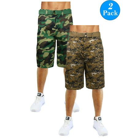 Men's Flat-Front Slim-Fit Belted Camouflage Shorts (2-Pack) ()
