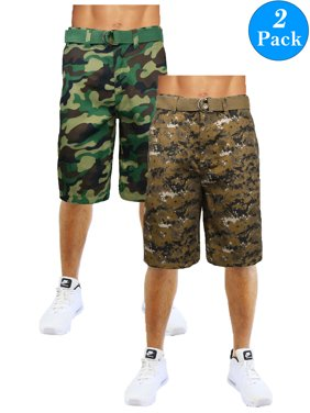 8d0b4a3fea Product Image Men's Flat-Front Slim-Fit Belted Camouflage Shorts (2-Pack)
