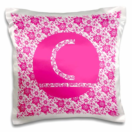 3dRose Hoy Pink Girly Floral Monogram Letter C - Pillow Case, 16 by (Floral Monogram)