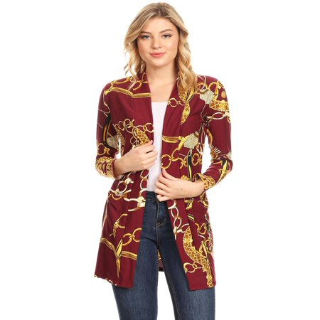 MOA COLLECTION Women's Pattern Solid Print Long Sleeve Pocket Open Front Casual Duster Cardigan Animal Print Crop Cardigan